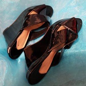 Black Wedge Platinum Heels size 8.5